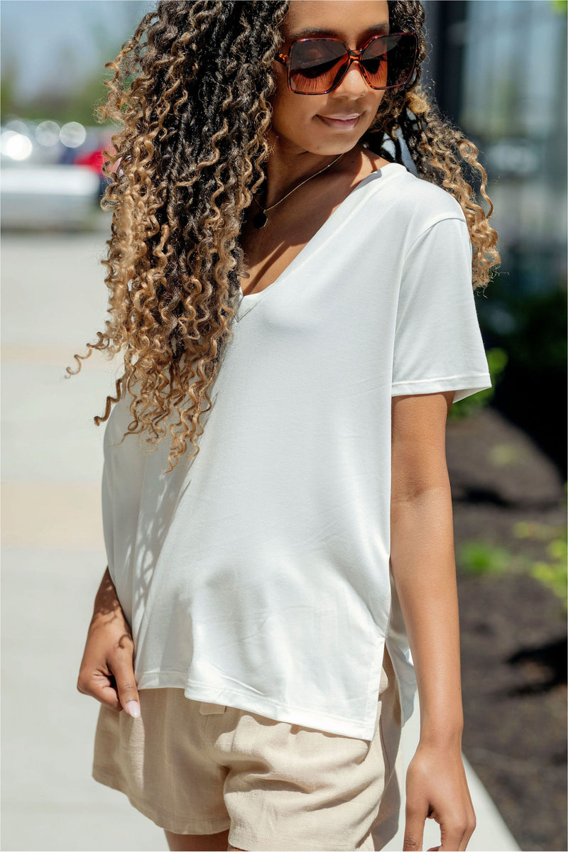 Ivory V-Neck Soft Tee - BluePeppermint Boutique