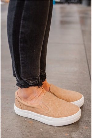Camel Slip On Sneakers - BluePeppermint Boutique