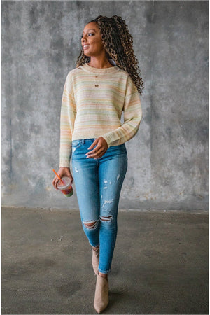Pastel Striped Lightweight Sweater - BluePeppermint Boutique