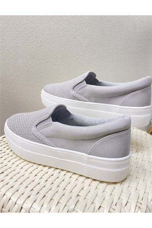 Grey Perforated Slip On Sneaker - BluePeppermint Boutique
