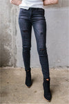Mid Rise Side Line Distressed Ankle Jeans - BluePeppermint Boutique