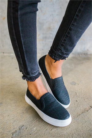Black Crocodile Slip On Sneakers - BluePeppermint Boutique