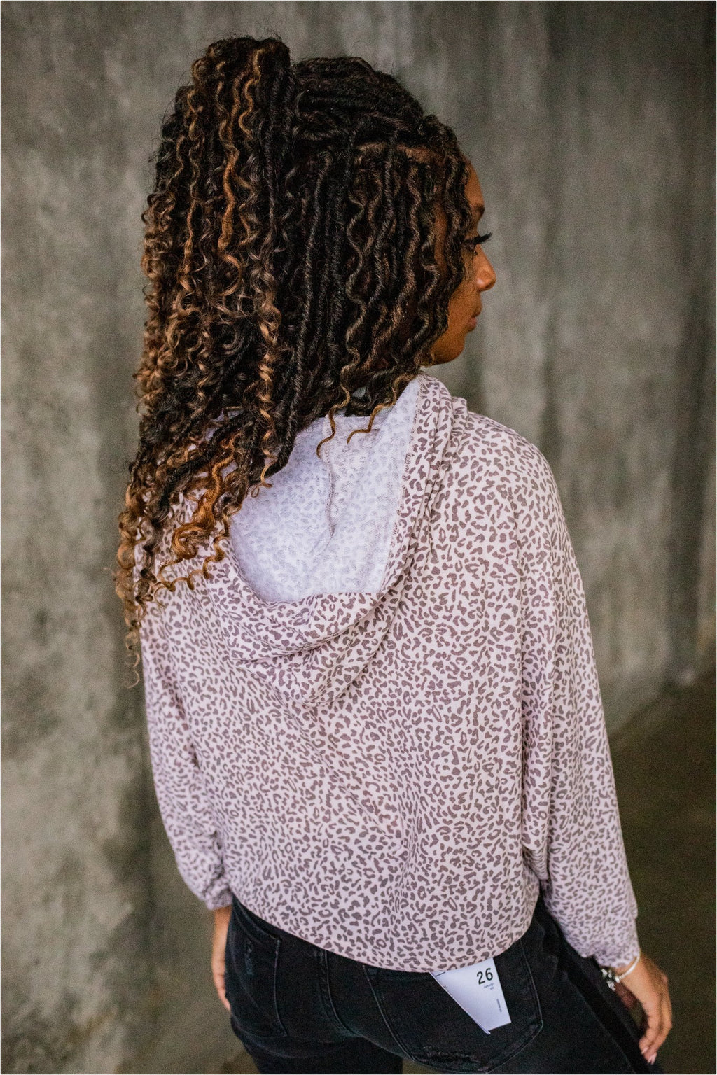 Taupe Leopard Cropped Terry Hooded Top - BluePeppermint Boutique
