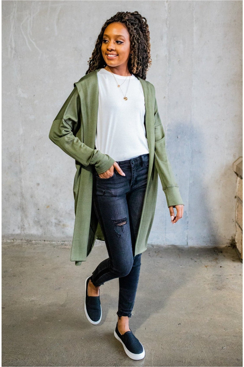French Terry Hooded Cardigan-Olive - BluePeppermint Boutique