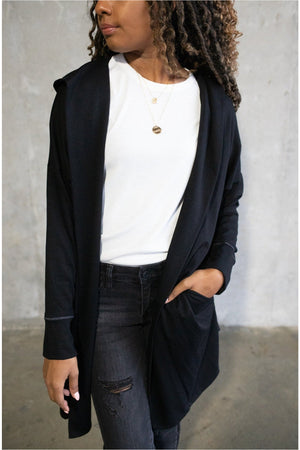 French Terry Hooded Cardigan-Black - BluePeppermint Boutique
