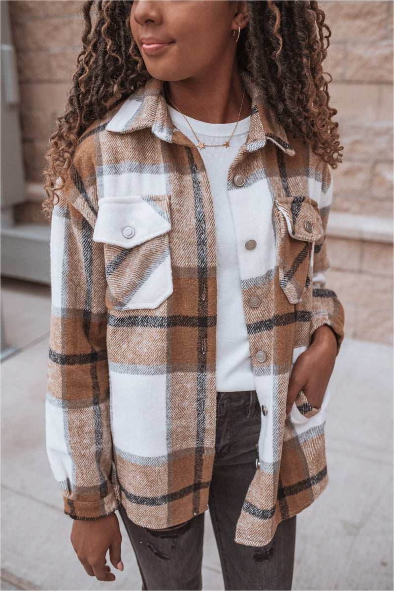 Plaid Shacket - Khaki - BluePeppermint Boutique