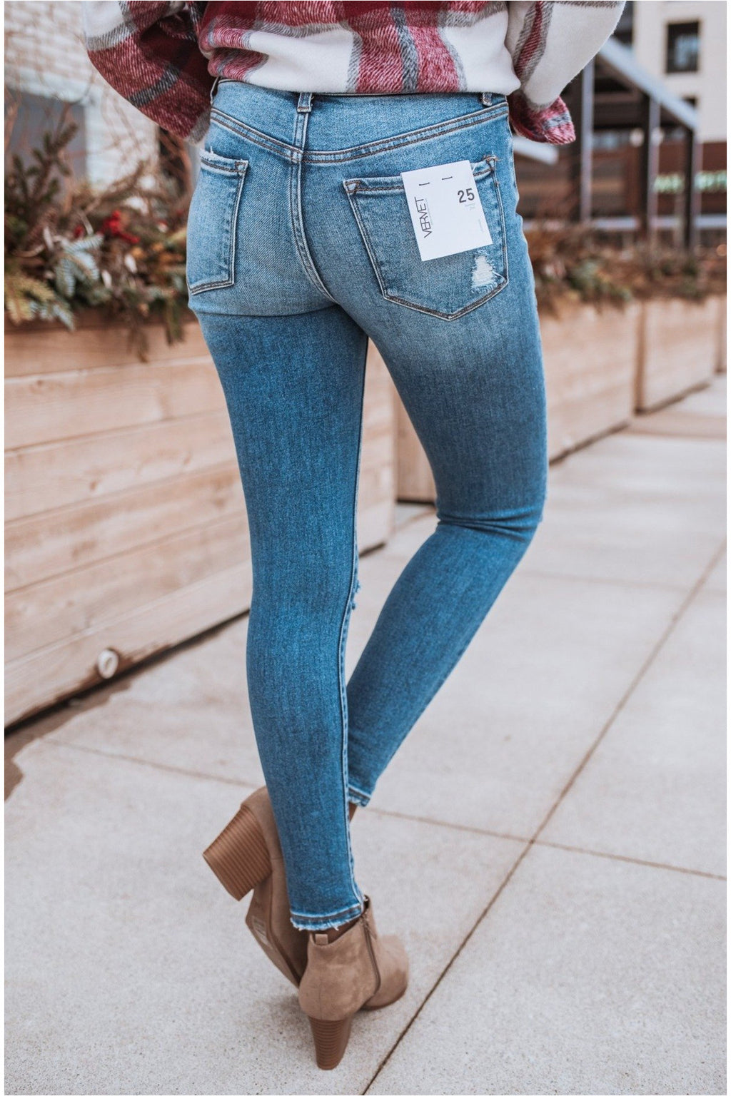 Unveil Mid Rise Distressed Crop Skinny Jeans - BluePeppermint Boutique