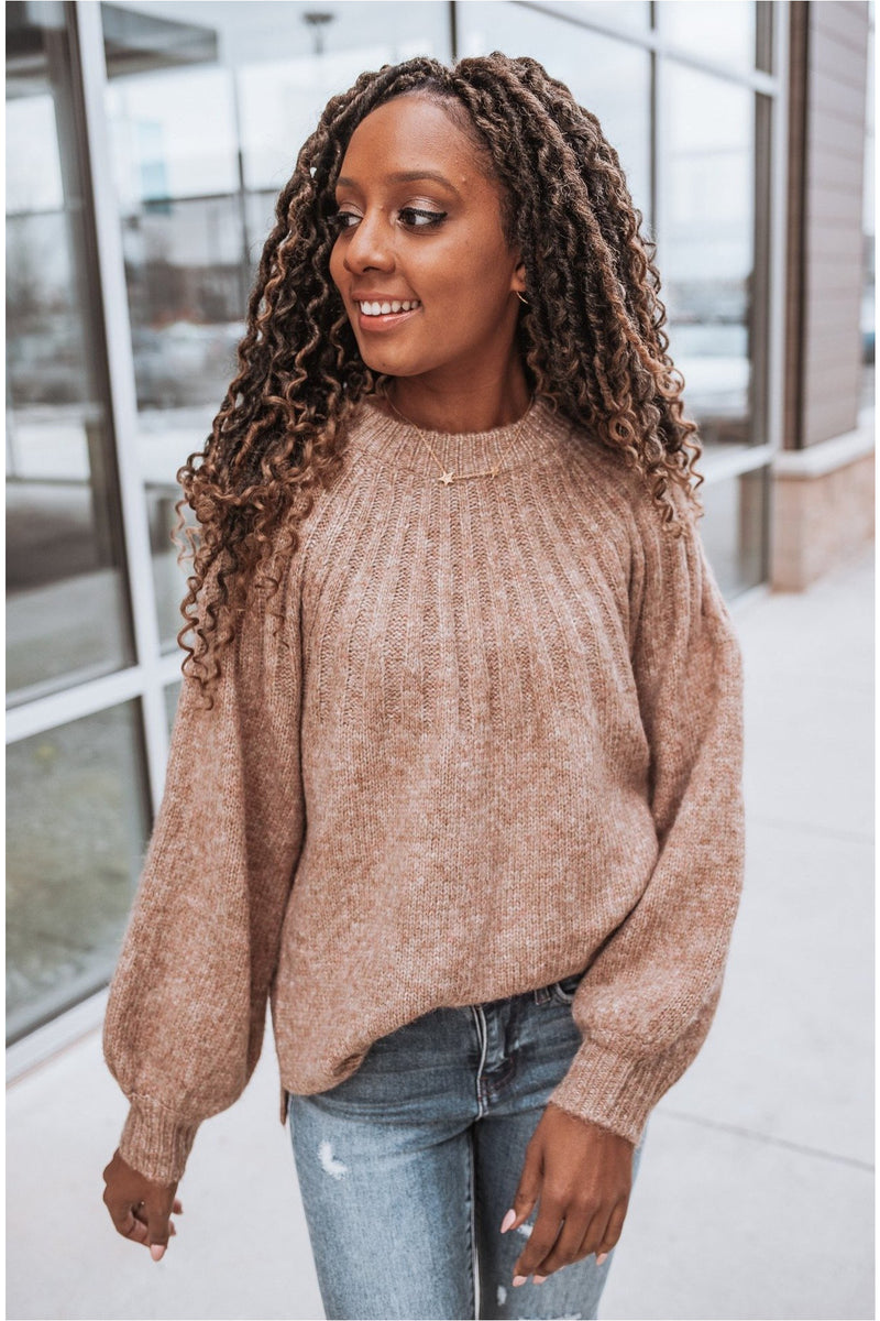 Caramel Heathered Balloon Sleeve Sweater - BluePeppermint Boutique
