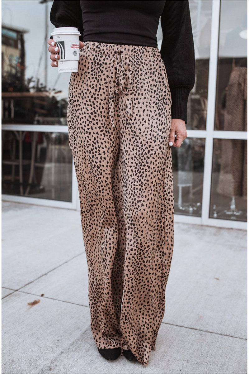 Mocha Leopard Wide Leg Pants - BluePeppermint Boutique