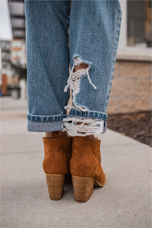 Camel Chunky Heel Booties - BluePeppermint Boutique