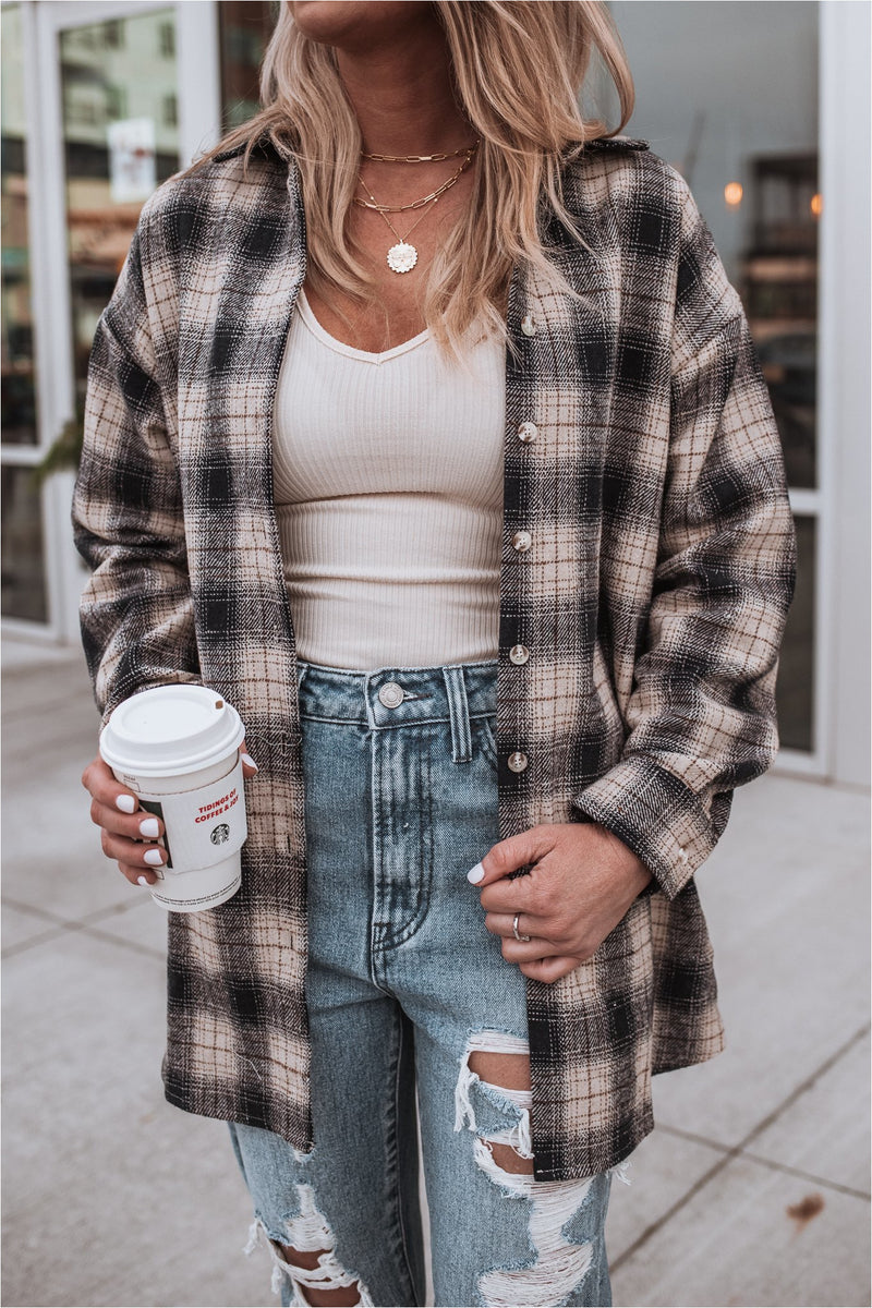 Navy Plaid Flannel - BluePeppermint Boutique