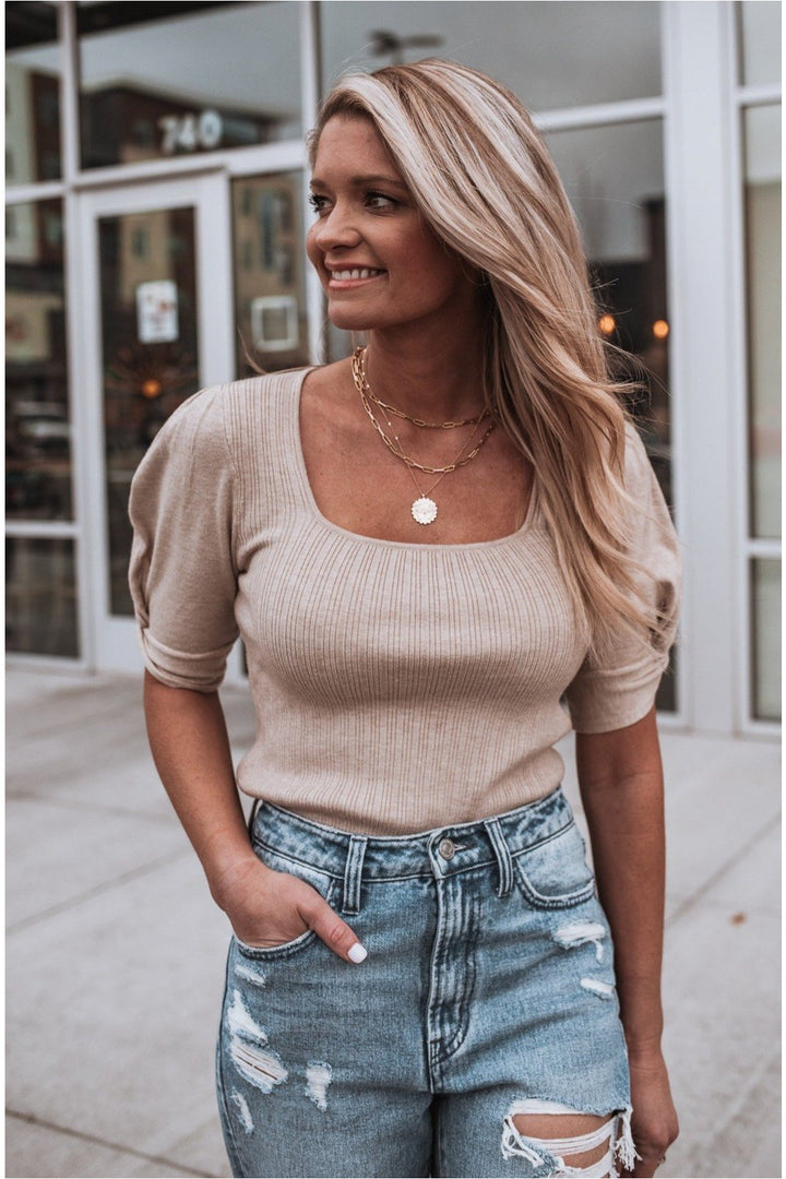 Oatmeal Square Neck Balloon Sleeve Top