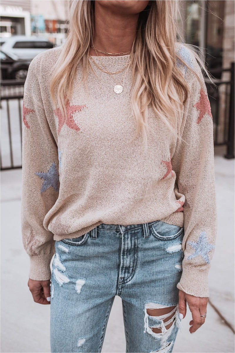 Oatmeal Star Knit Crew Neck Sweater - BluePeppermint Boutique