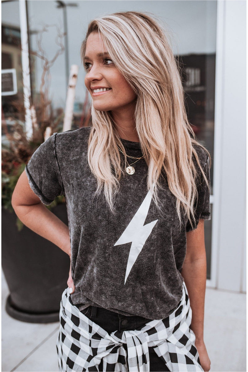 Charcoal Lightning Bolt Graphic Tee - BluePeppermint Boutique