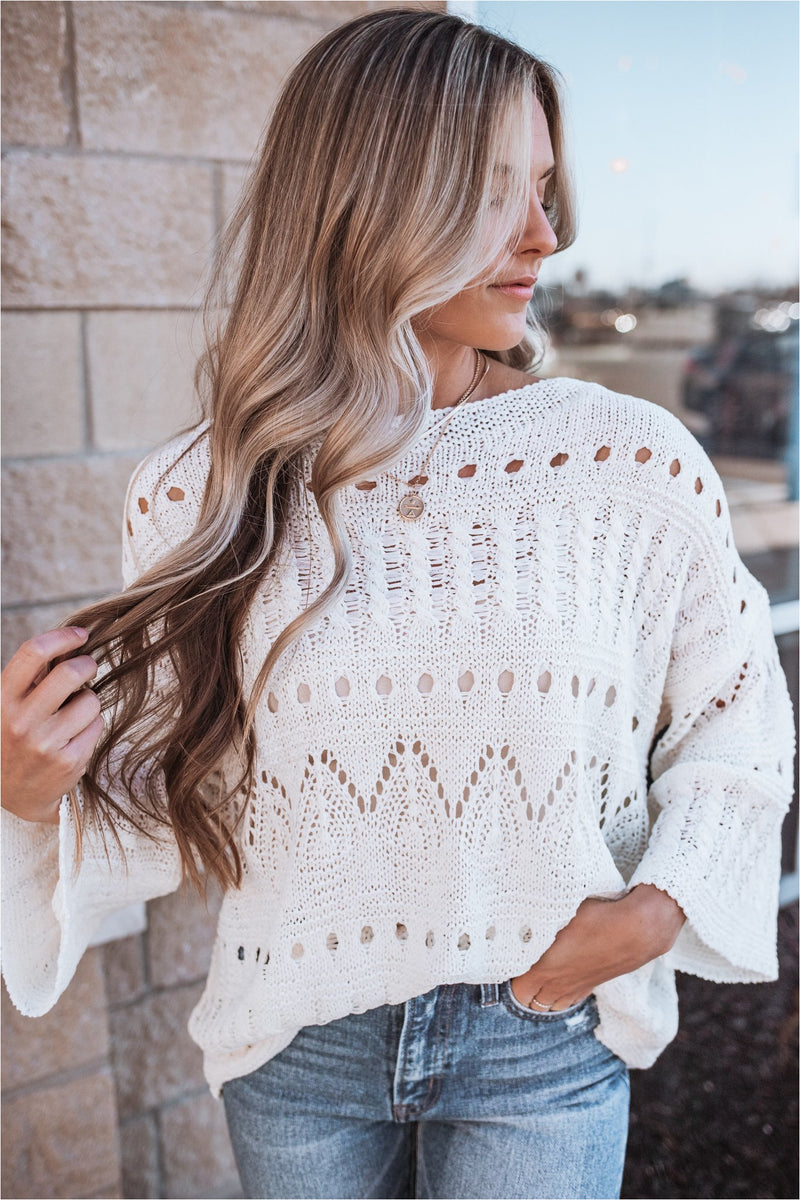 Knit Three Quarter Sleeve Sweater-Cream