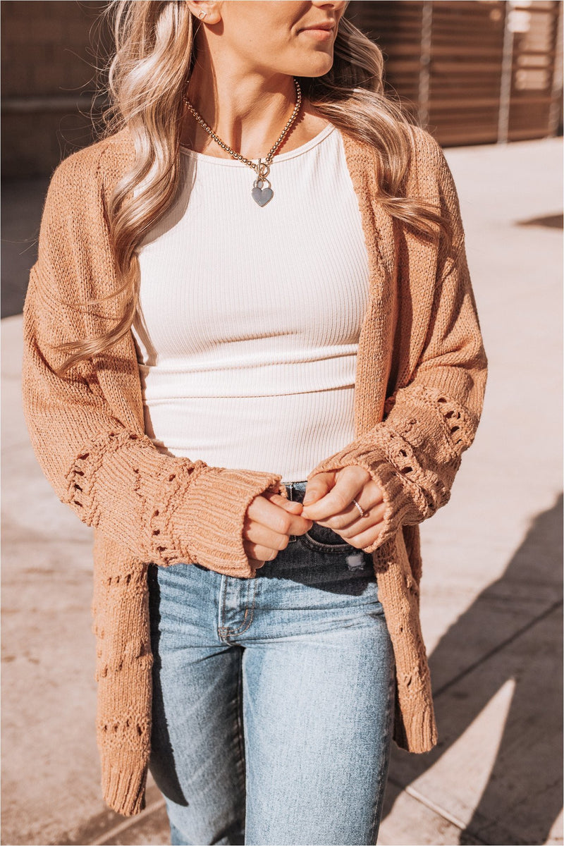 Clay Ribbed Knit Open Front Cardigan