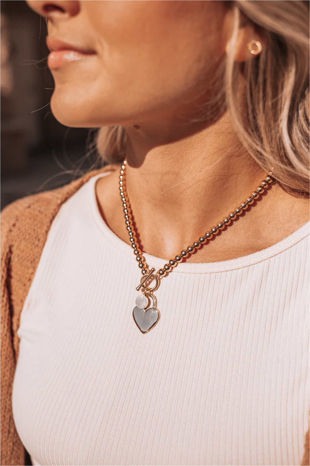 Gold Metal Heart Pendant Necklace