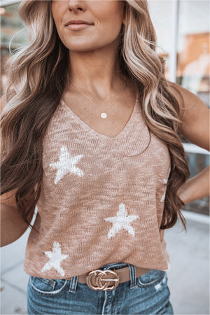 Peach Star Print Tank Top - BluePeppermint Boutique