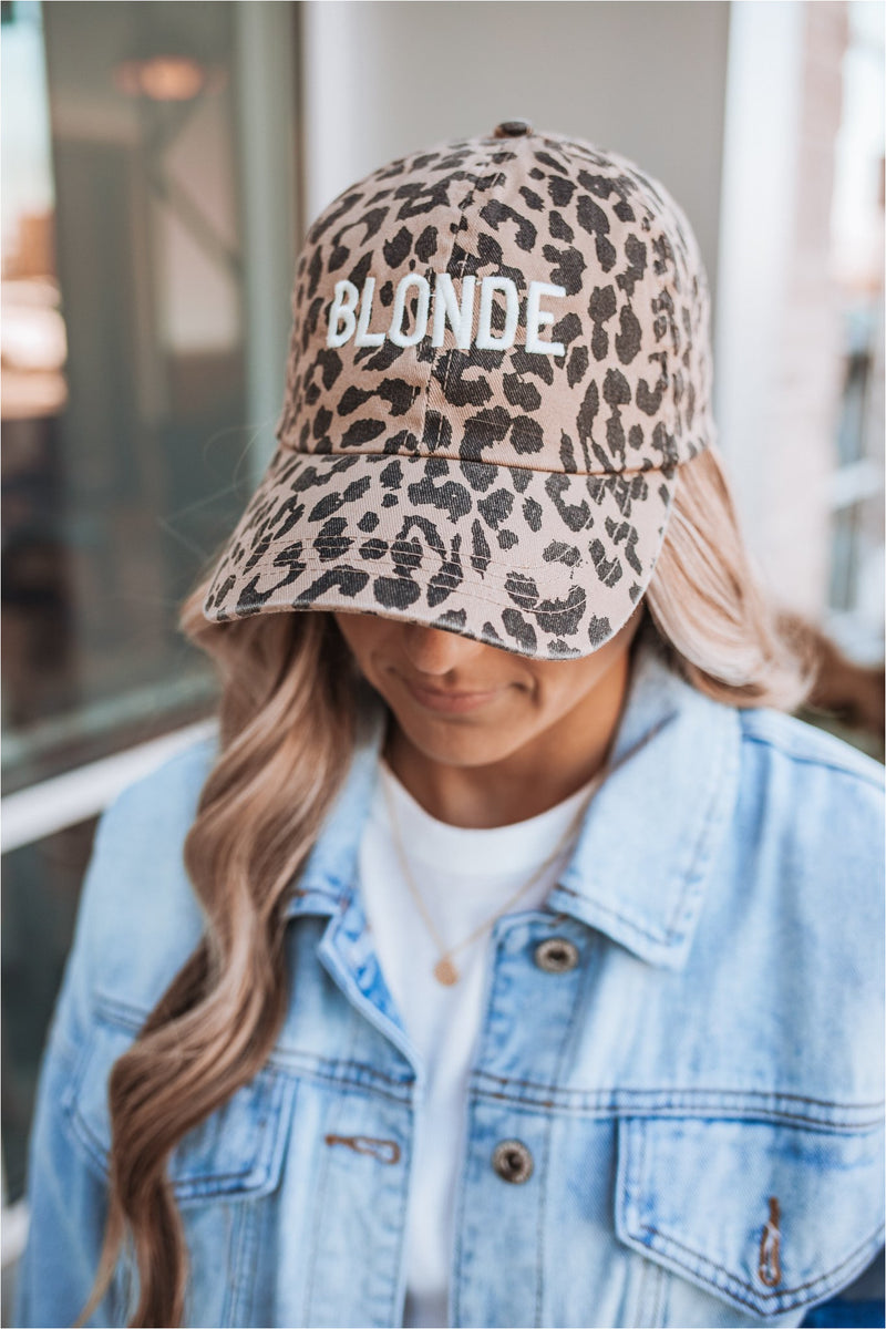 Brown Leopard Baseball Cap-Blonde