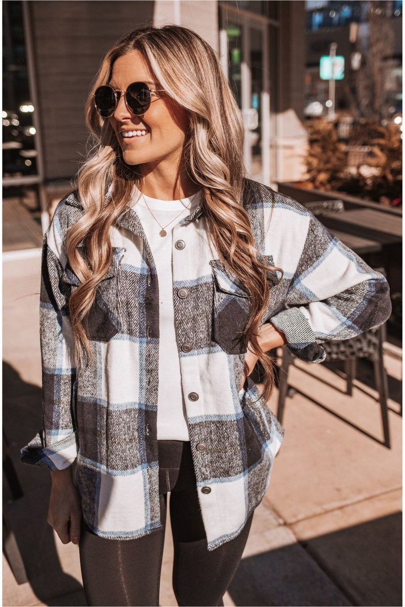 Plaid Shacket- Navy