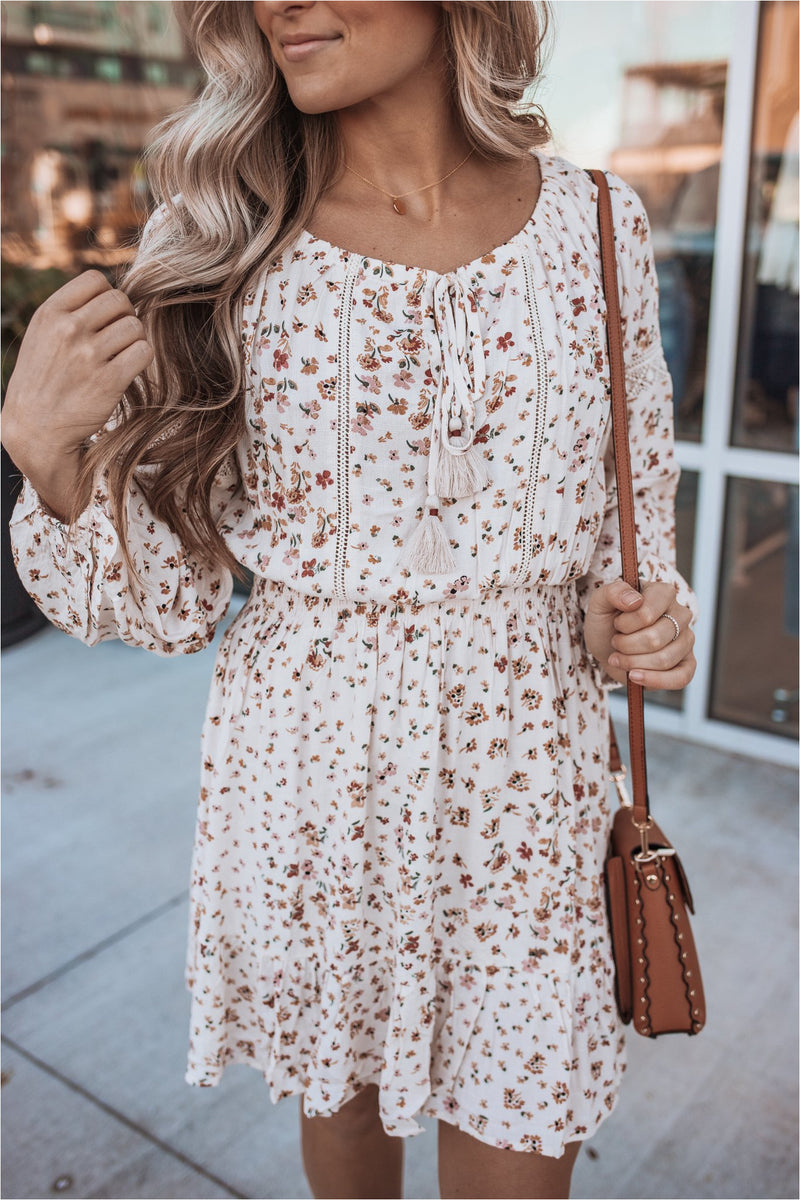Natural/Brick Floral Crotchet Lace Dress - BluePeppermint Boutique