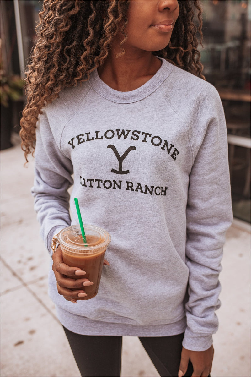 Yellowstone Crewneck Sweatshirt - Grey - BluePeppermint Boutique