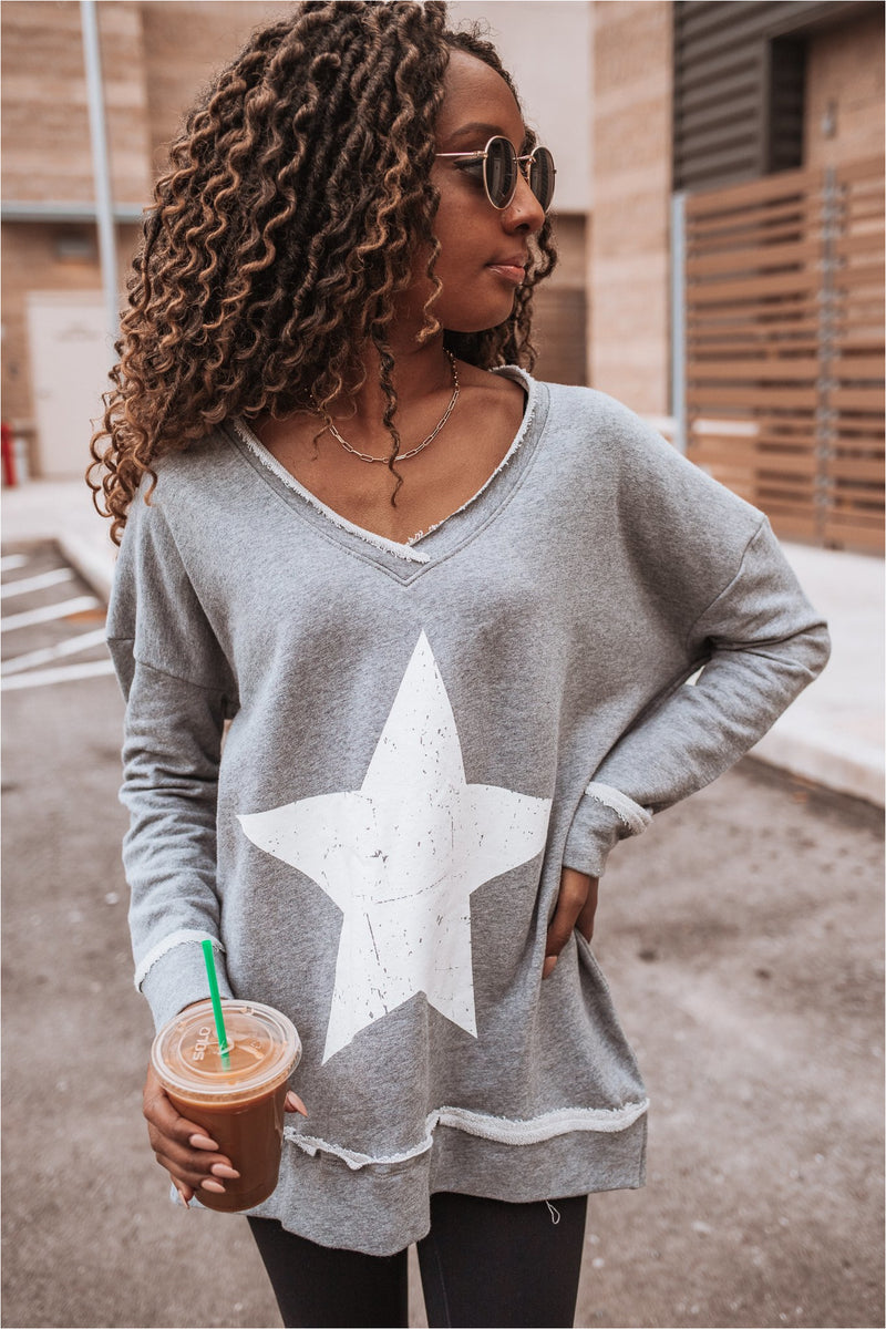 Grey Antique Star Raw Edge Pullover - BluePeppermint Boutique