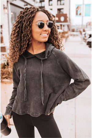 Black Mineral Wash Cropped Hoodie - BluePeppermint Boutique