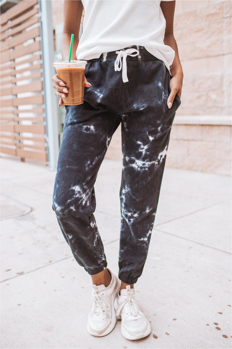 Navy Tie Dye Joggers - BluePeppermint Boutique