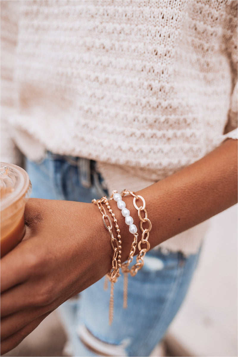Gold/Pearl Bracelet Stack - BluePeppermint Boutique