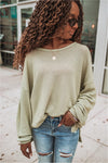 Long Sleeve Waffle Knit Sweater-Olive - BluePeppermint Boutique