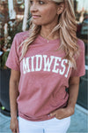 Midwest Graphic Tee-Heather Mauve - BluePeppermint Boutique