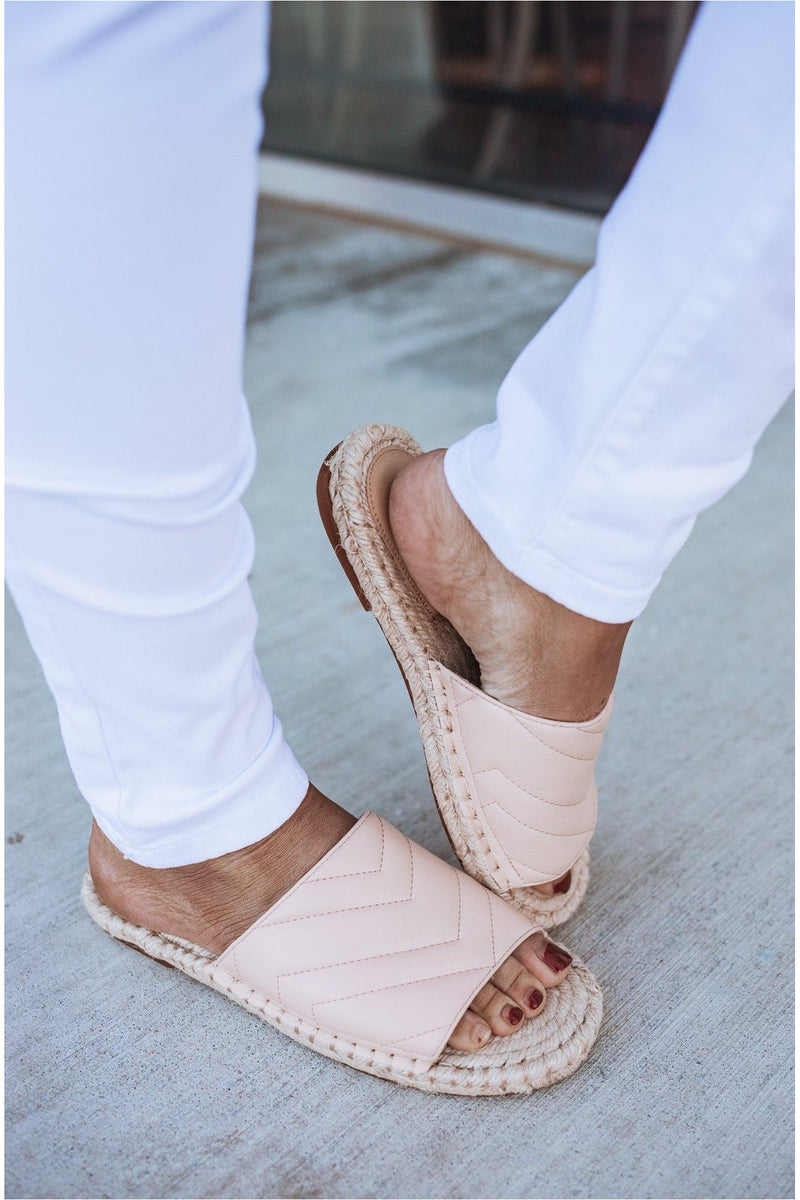Blush Woven Sandals - BluePeppermint Boutique