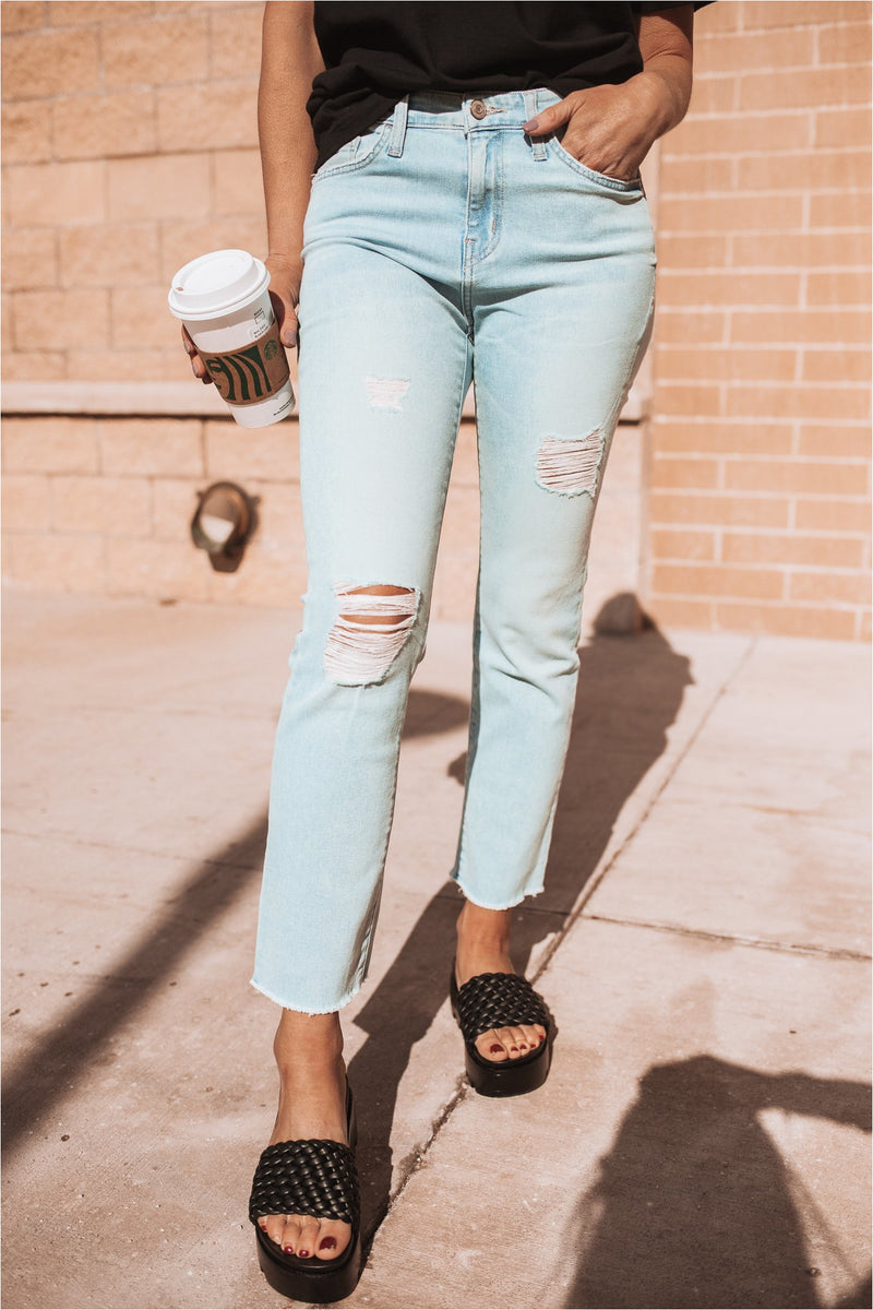 Distribute Light Wash Distressed High Rise Cropped Jeans - BluePeppermint Boutique