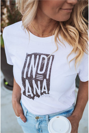 Indiana Crossroads Of America Tee-White - BluePeppermint Boutique