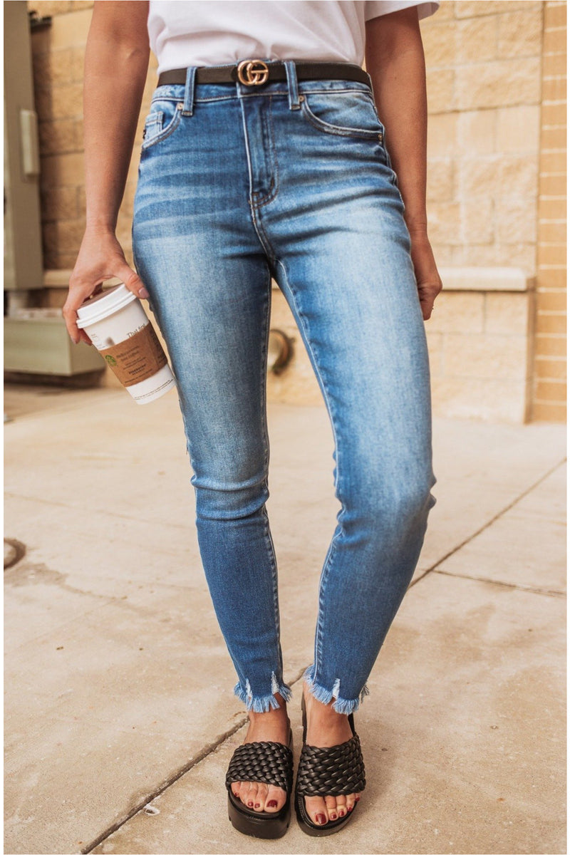 Outlaw High Rise Fay Hem Ankle Skinny Jean - BluePeppermint Boutique