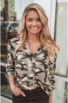 Camo Print Button Down Top - BluePeppermint Boutique
