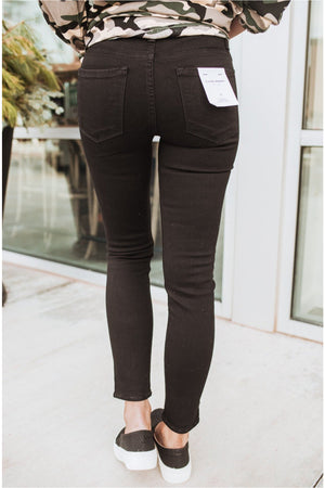 Black Mid Rise Cropped Skinny Jeans - BluePeppermint Boutique