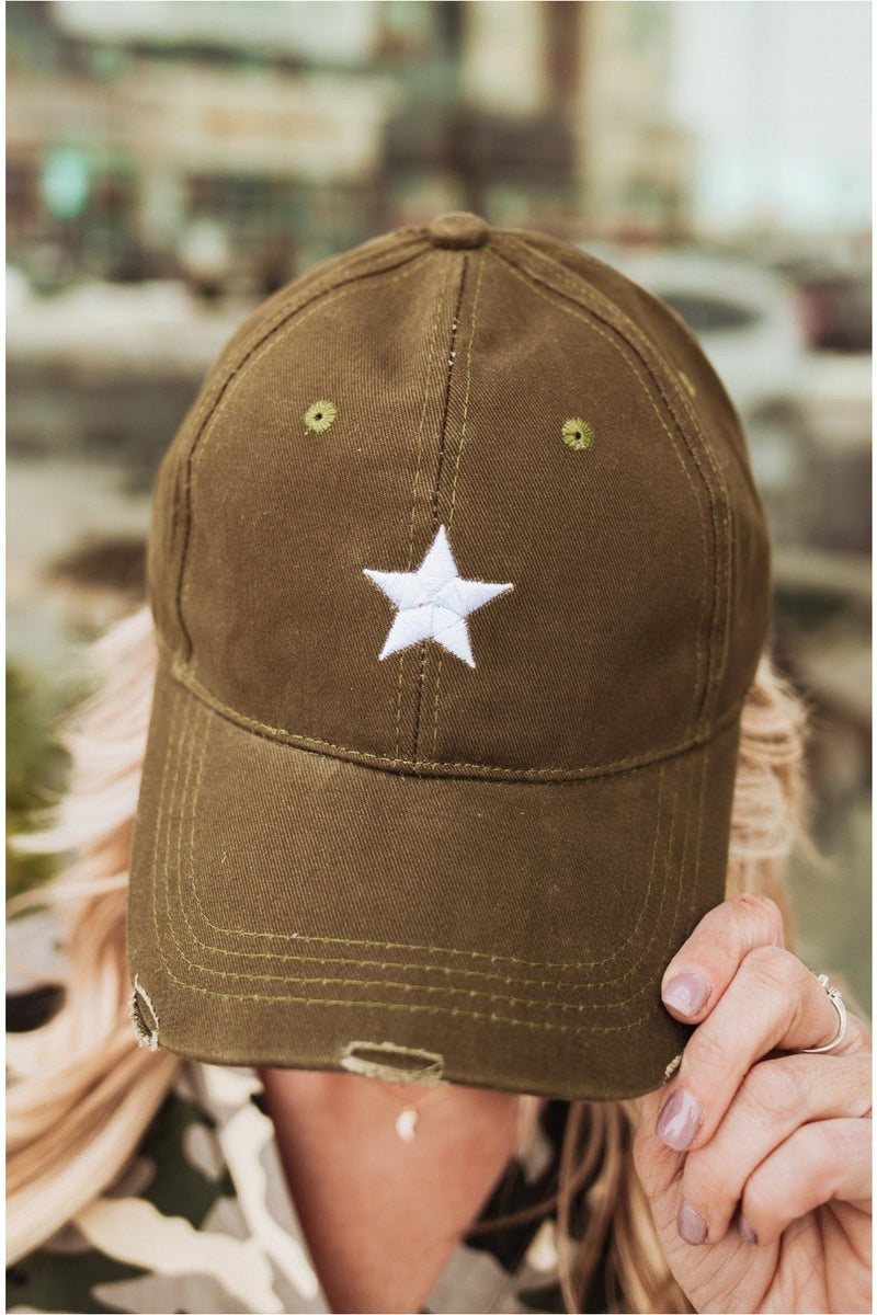 Haute Shore Boardwalk Baseball Cap-Olive/White Star - BluePeppermint Boutique