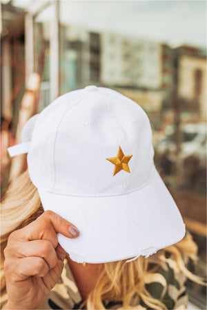Haute Shore Boardwalk Baseball Cap-White/Gold Star - BluePeppermint Boutique