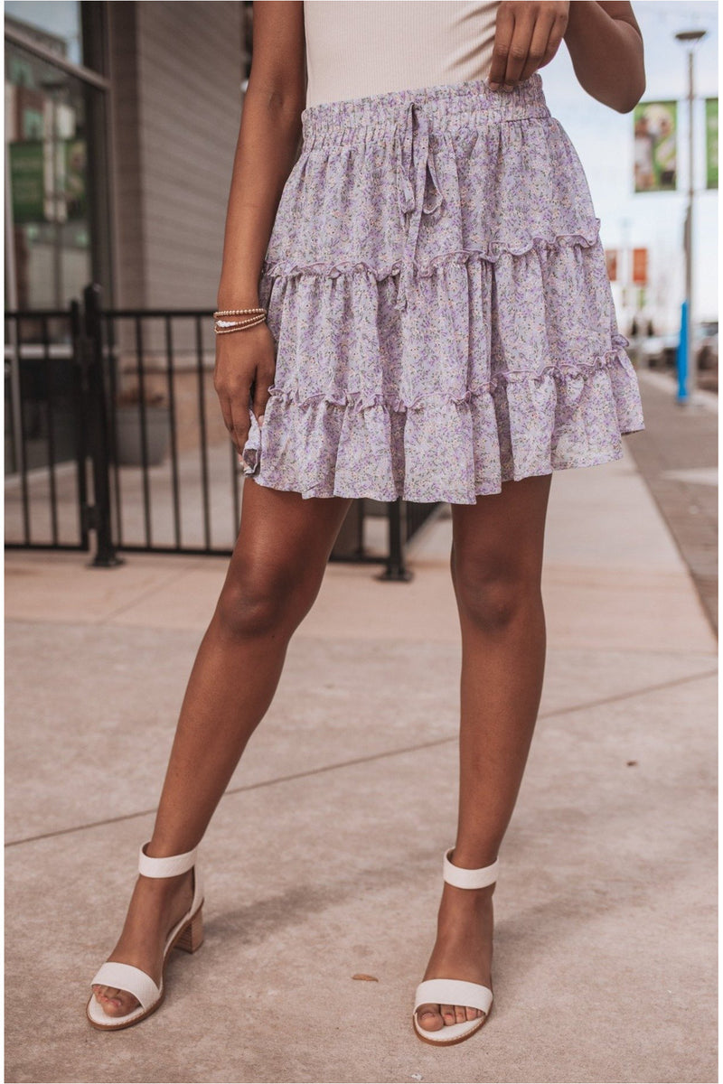 Floral Print Woven Tiered Mini Skirt-Lilac Grey