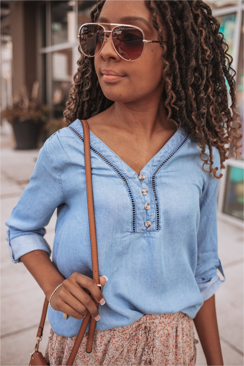 Chambray Button Neck Top - BluePeppermint Boutique