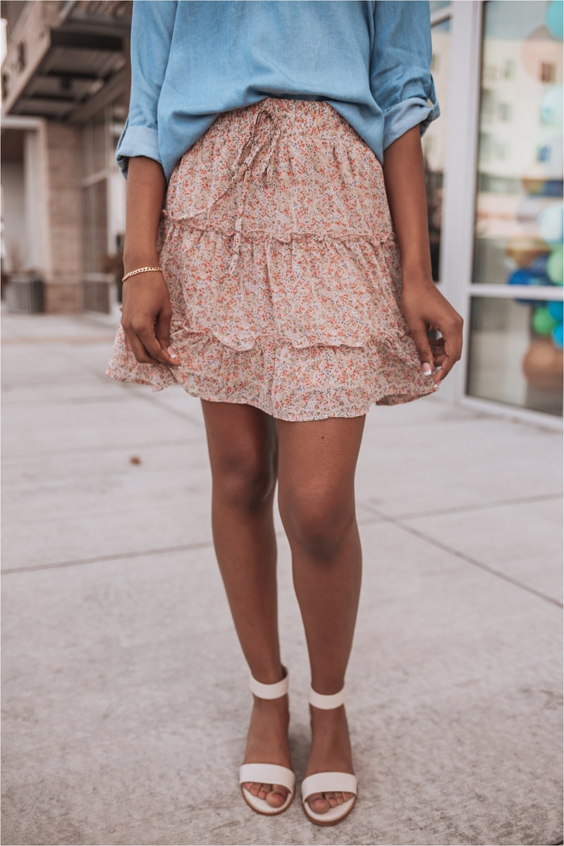 Floral Print Woven Tiered Mini Skirt-Rose