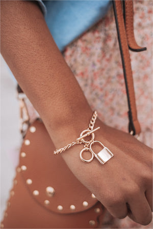 Gold Lock Charm Toggle Bracelet - BluePeppermint Boutique