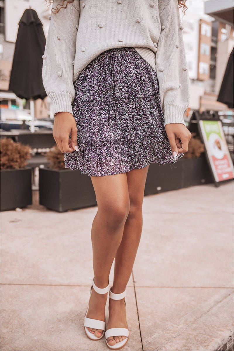 Floral Print Woven Tiered Mini Skirt-Black