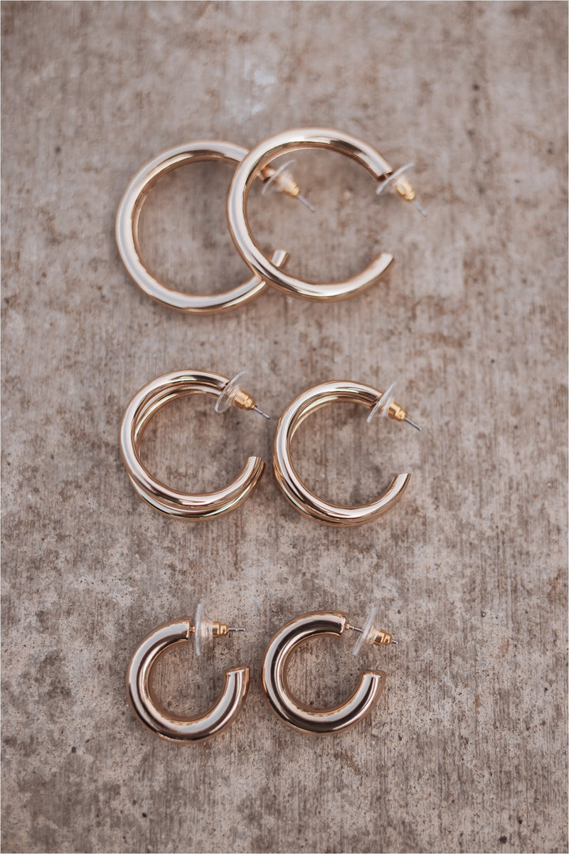 Set of 3 Gold Metal Hoop Earrings - BluePeppermint Boutique