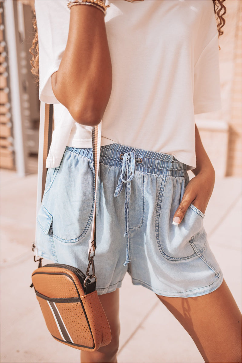 Light Blue Washed Chambray Shorts