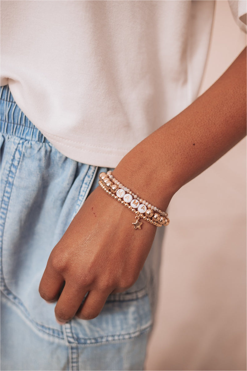Mama + Star Beaded Trio Bracelet Set