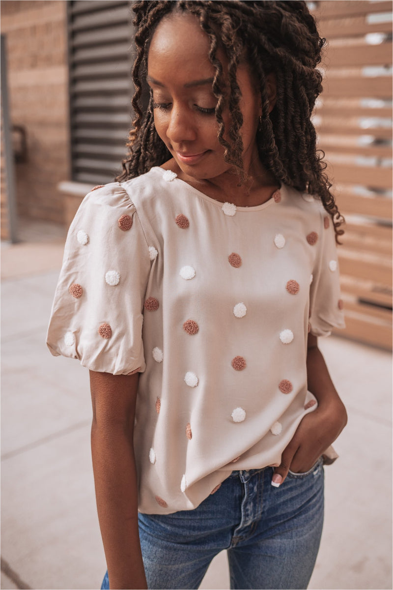 Blush Balloon Sleeve Swiss Dot Top