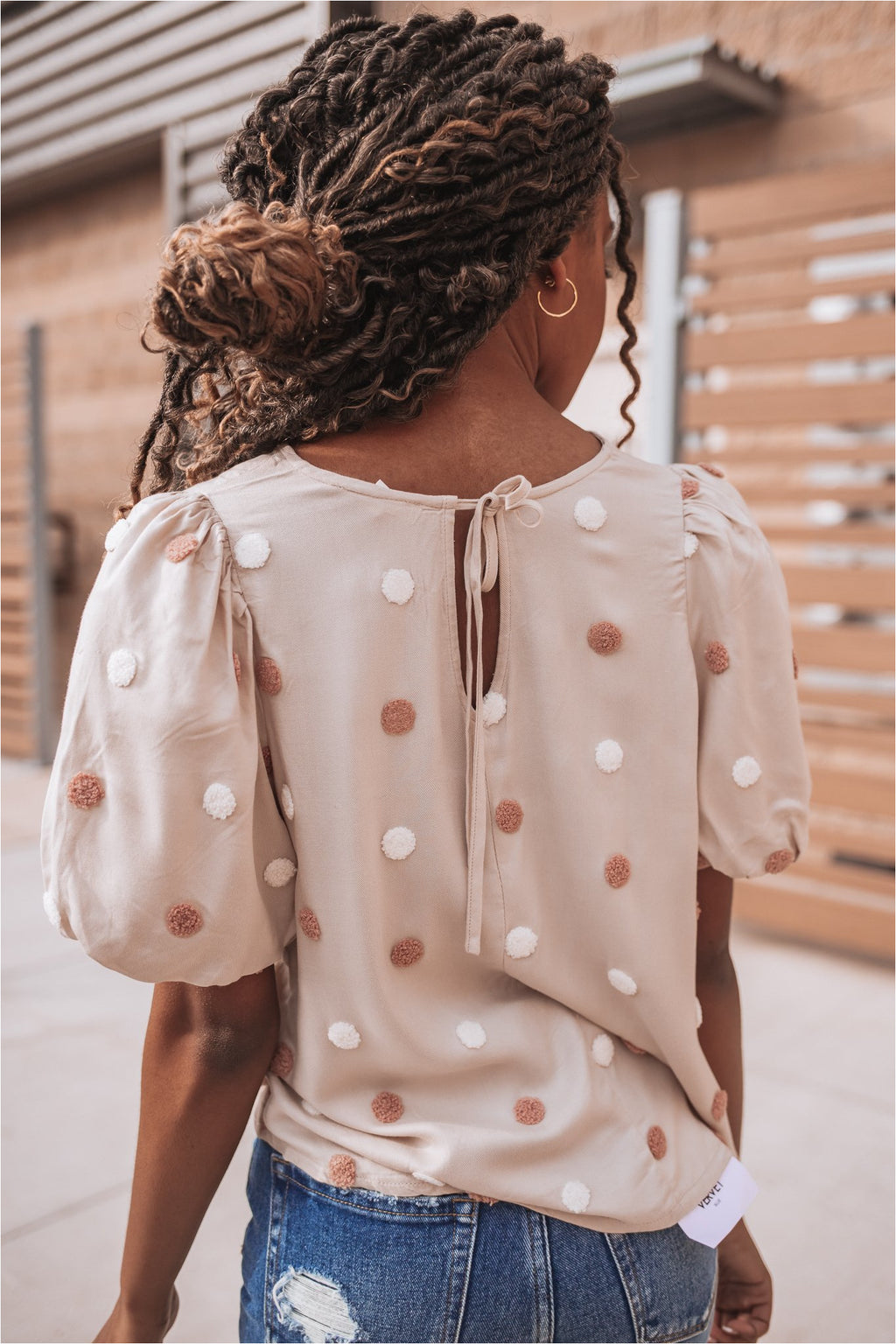Blush Balloon Sleeve Swiss Dot Top - BluePeppermint Boutique